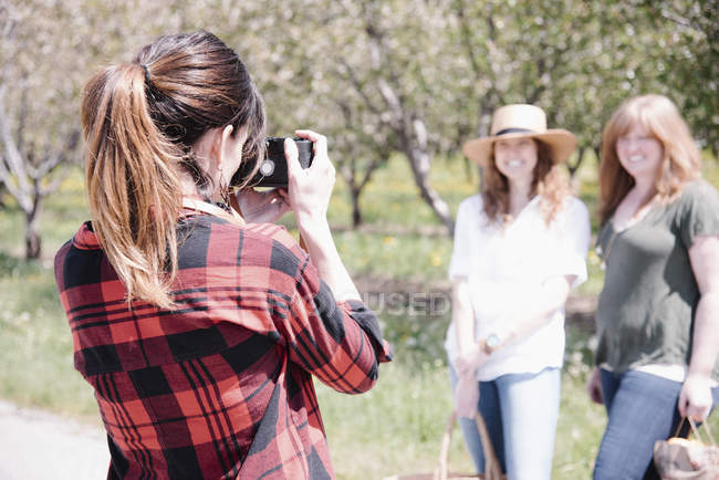 Rear view of female photographer taking pictures of women in orchard in summer. — Stock Photo