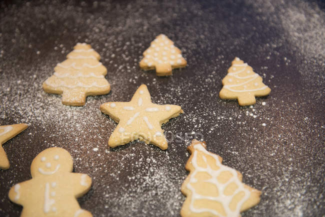 Tray Of Christmas Shaped Decorated Biscuits Full Frame Preparing