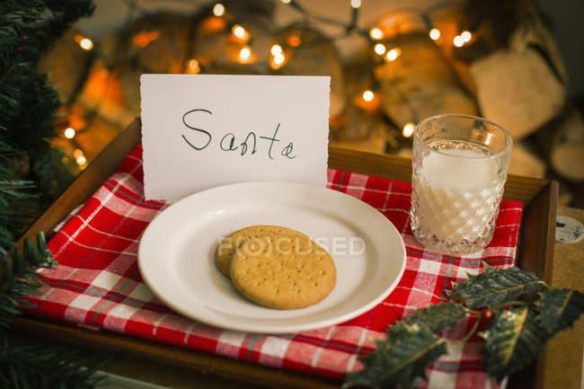 Piatto natalizio con biscotti e bicchiere di latte su vassoio per Babbo Natale . — Foto stock