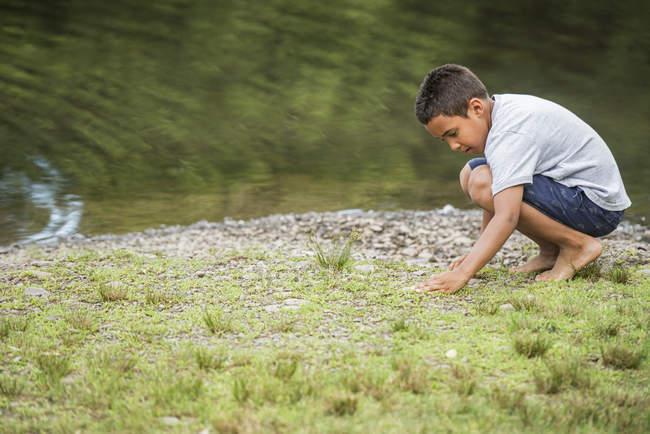 Elementary age boy picking stones on shore of lake. — Stock Photo
