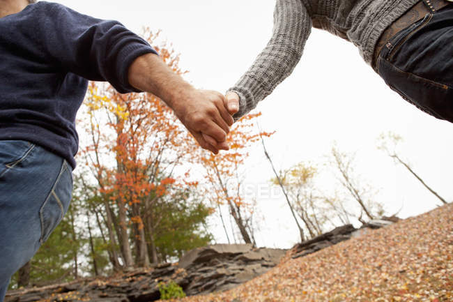 Cropped view of man and woman holding hands in autumnal park. — Stock Photo