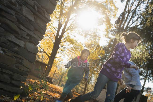 Children playing outdoors in autumn sunshine. — Stock Photo