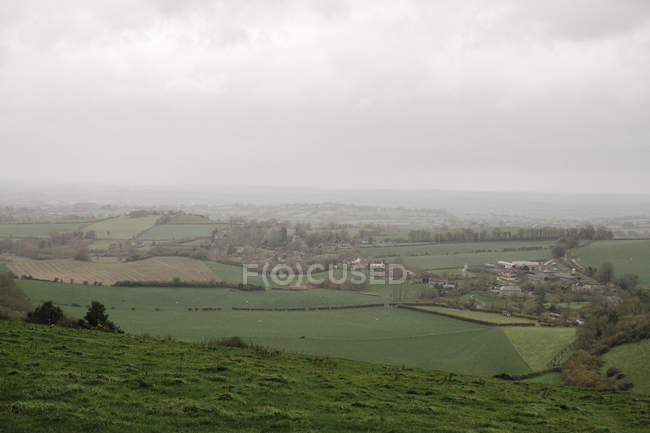 Scenic view of landscape, fields and farmland of Devon, UK. — Stock Photo