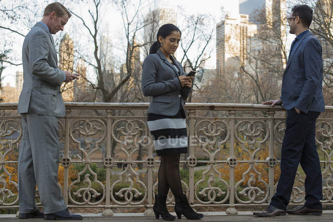 Three business people checking smartphones while standing at balustrade in city park. — Stock Photo