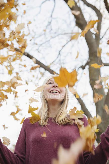 Riéndose adolescente lanzando hojas otoñales en el aire en el parque . - foto de stock