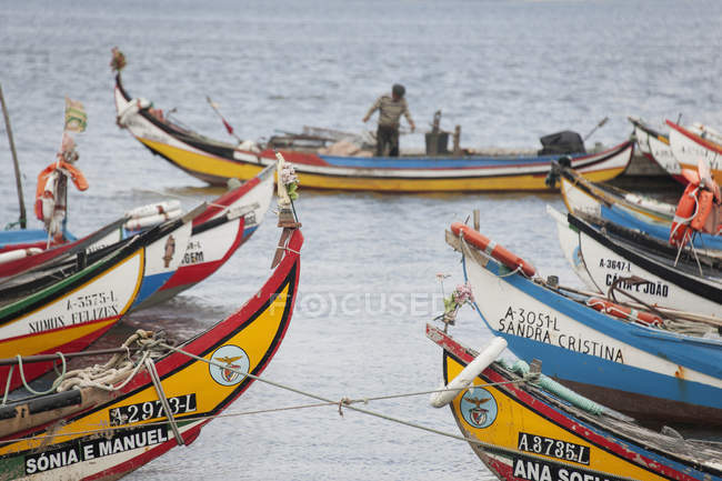 Traditional moliceiro fishing boats painted in vivid colors moored in Torreira,Portugal. — Stock Photo