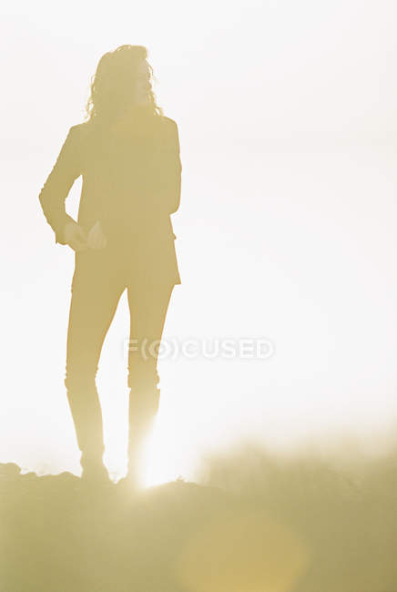 Silhouette of woman with long curly hair standing in sunlit landscape. — Stock Photo