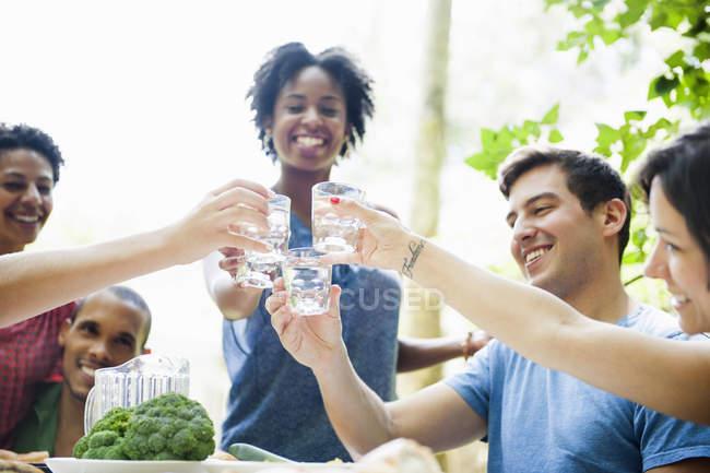Adultos tostado con copas y bebidas en mesa - foto de stock