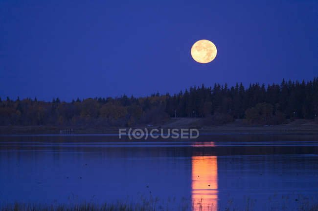 Full moon in night sky reflecting in water of lake in Canada — Stock Photo