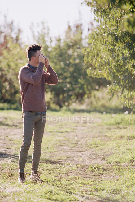 Young adult man taking picture of apple tree in orchard. — Stock Photo