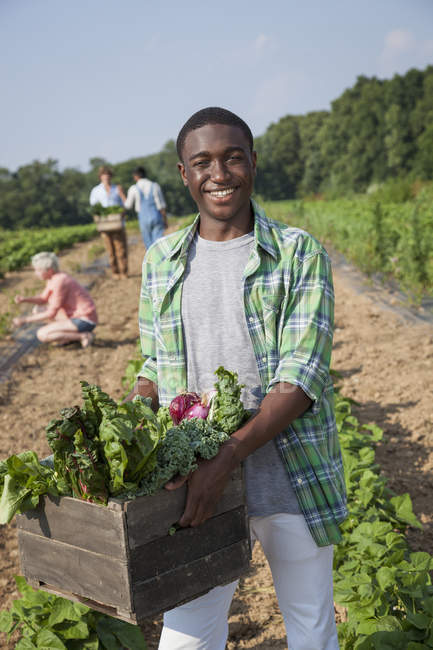 Teenage boy holding wooden box of fresh vegetables harvested from field with people in background. — Stock Photo