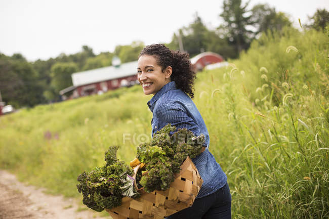 Woman carrying basket overflowing with fresh green vegetables on organic farm. — Stock Photo