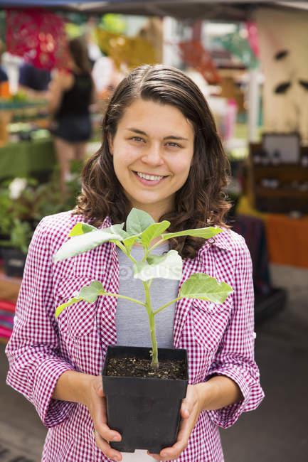 Молоді жінки, що тримає завод у каструлі на стенді фермера ринку — стокове фото