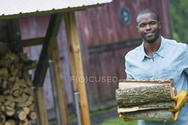 Young man carrying pile of logs from the store at farm. — Stock Photo