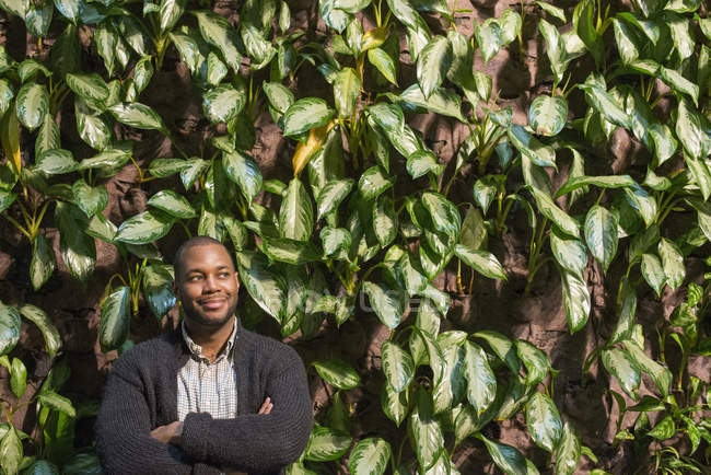 Man standing with folded arms in front of wall covered with foliage and climbing plants. — Stock Photo