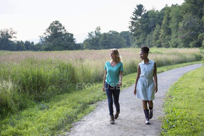 Due donne che camminano lungo il sentiero rurale con campo . — Foto stock