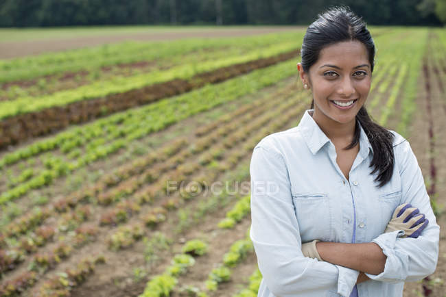 Woman standing with arms crossed in front of rows of green vegetable plants on organic farm. — Stock Photo