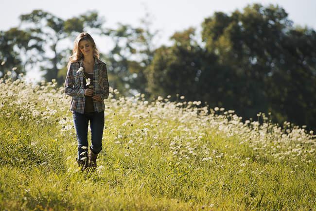 Молодая женщина, ходить в дикий цветущий луг. — стоковое фото