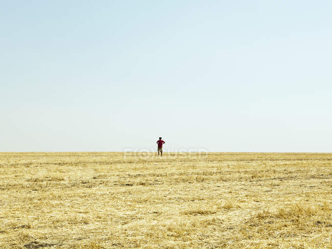 Silhouette of man standing on horizon of field of stubble. — Stock Photo