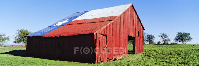 Fienile rosso in campo con bandiera Texas sul tetto negli Stati Uniti — Foto stock