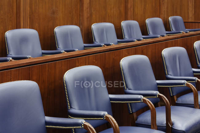 Empty jury seats in courtroom in Dallas, Texas, USA — Stock Photo