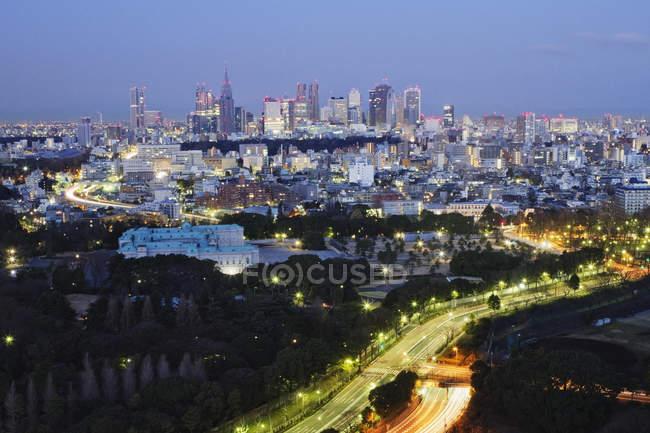 Horizon de la ville nuit avec lampes à Tokyo, Japon — Photo de stock