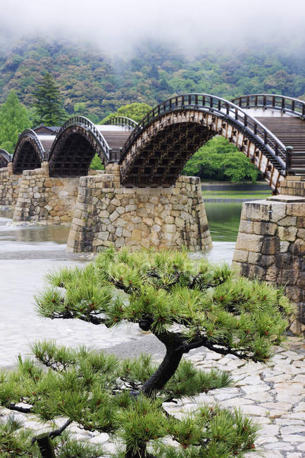 Puente peatonal asiático sobre el río en Iwakuni, Japón - foto de stock