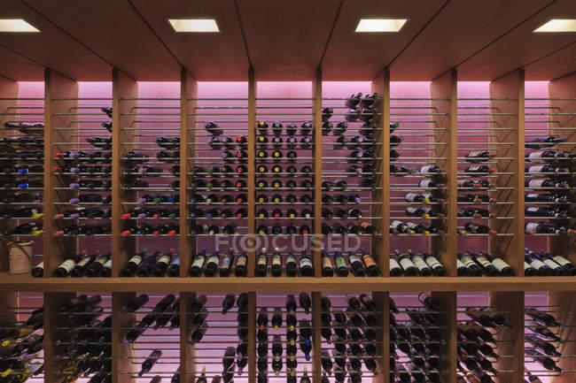 Upscale wine rack in Dallas, Texas, USA — Stock Photo
