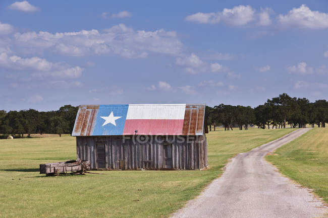 Paesaggio rurale con fienile dipinto come Texas Flag in Texas, Usa — Foto stock
