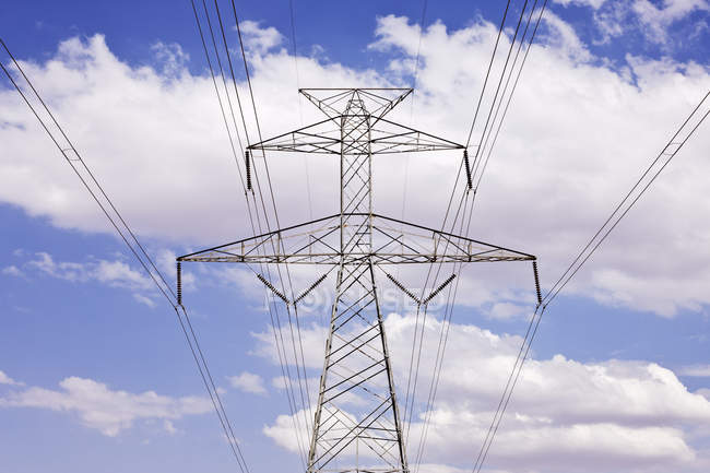 Power pylon under clouds in Texas, USA — Stock Photo