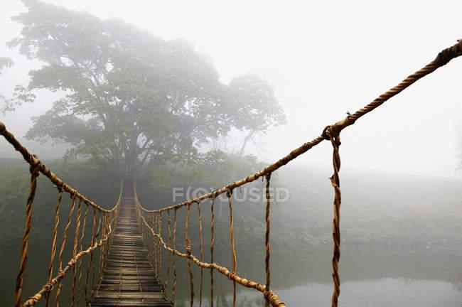 Довгий Мотузковий міст в хмарний ліс, Сапа, Ла Цай провінція, В'єтнам — стокове фото