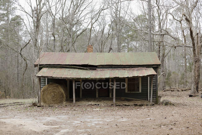 Decaying rural shed with hay bale in woods, Virginia, USA — Stock Photo