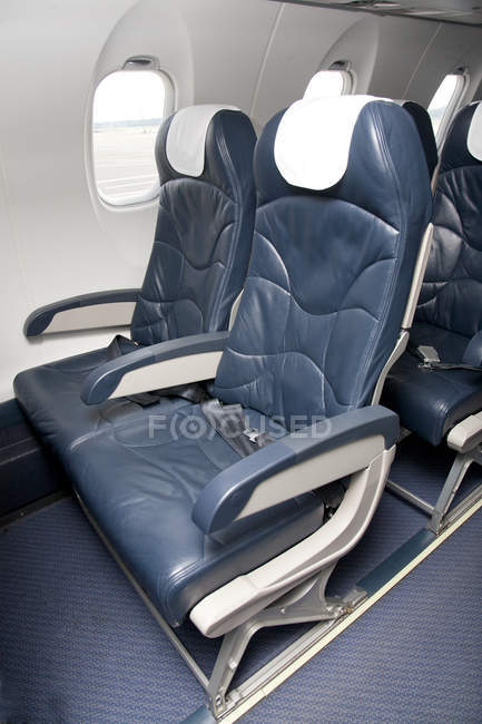 Seats of empty airplane in Tallinn, Estonia — Stock Photo