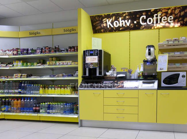 Gas station shop with various goods in Estonia — Stock Photo