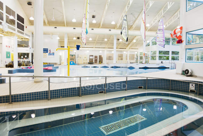 Indoor swimming facility with pool and equipment — Stock Photo