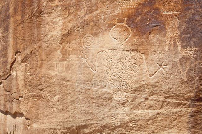 Petroglifi nativi americani, Monumento nazionale dei dinosauri, Colorado, USA — Foto stock