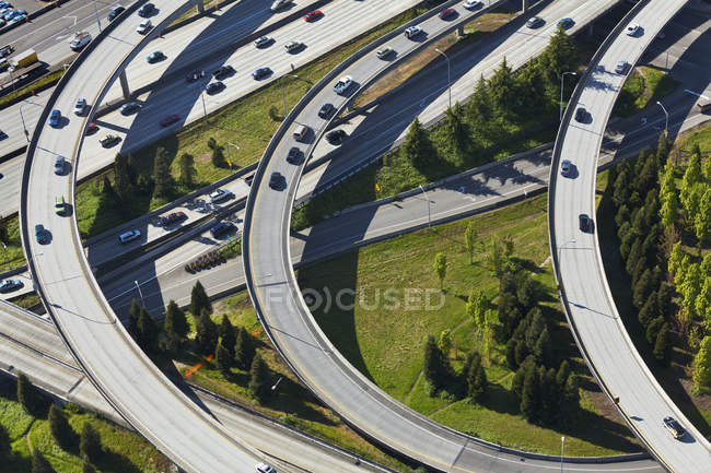 Busy freeway interchange in Seattle, Washington, USA — Stock Photo