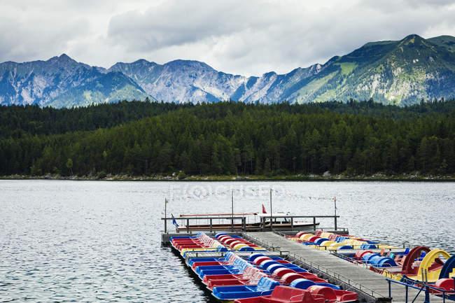 Colorful boats on lake in Eibsee lake, Bavaria, Germany, Europe — Stock Photo