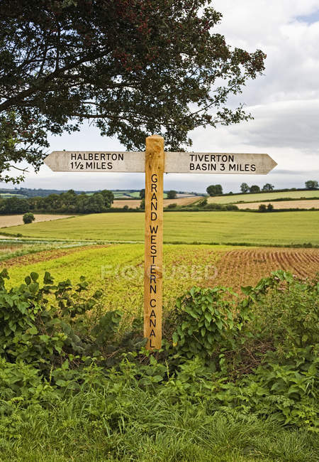 Wooden signpost in countryside in Devon, England, Great Britain, Europe — стокове фото