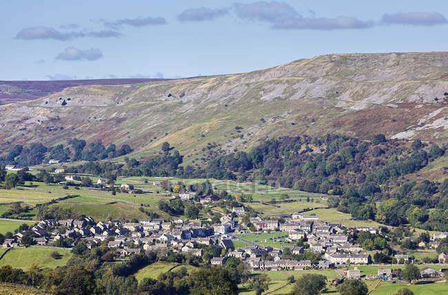 Сільські будинки в долині в Реeth, Англія, Великобританія, Європа — стокове фото