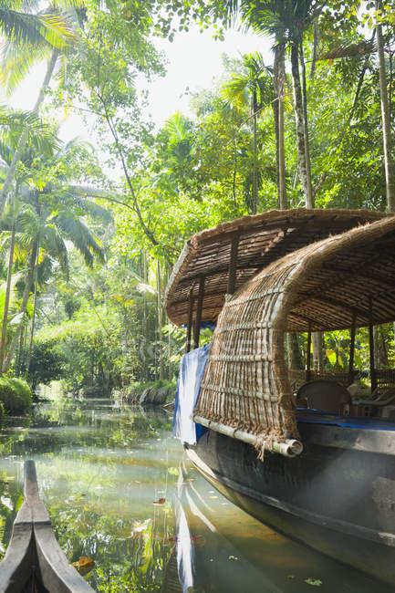 Bateau dans la jungle verte asiatique, Cochin, Kerala, Inde — Photo de stock