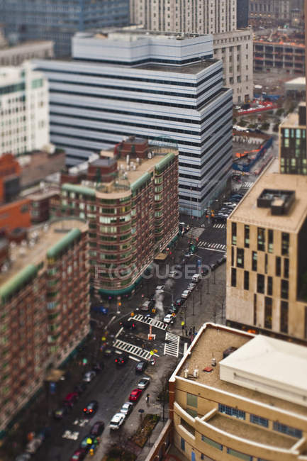 Rua ocupada no Tilt-Shift, Manhattan, New York City, New York, EUA — Fotografia de Stock