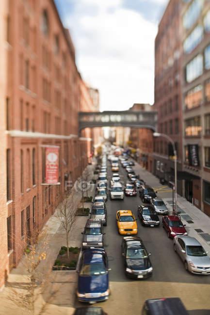 Пробці на міській вулиці Нью-Йорка, Нью-Йорк, США — стокове фото