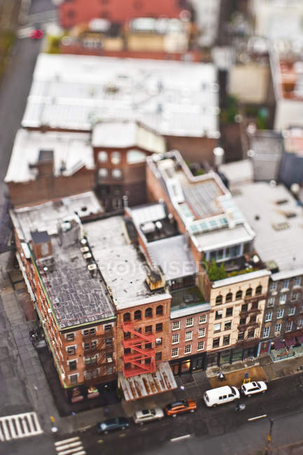 Aerial view of old city buildings of New York City, New York, USA — Stock Photo