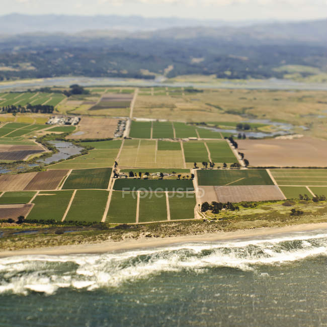 Coastal farmland pattern in country of California, USA — Stock Photo