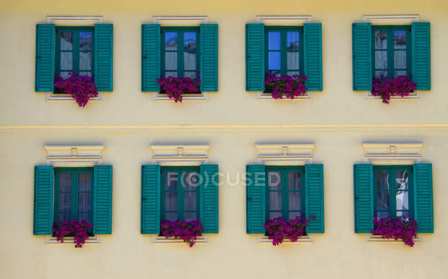 Colorful wooden shutters and flowers of building, Karlovy Vary, Czech Republic — Stock Photo