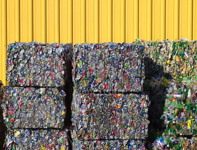 Rectangles compactés de recyclage des bouteilles en plastique — Photo de stock