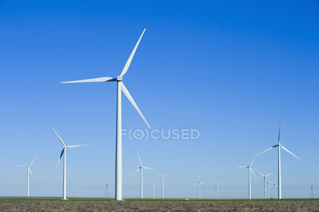 Wind turbines under clear blue sky in countryside of Kansas, USA — Stock Photo