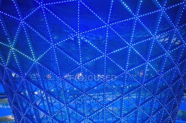 Abstract blue illuminated architectural detail, Shanghai Expo, Shanghai, China — Stock Photo