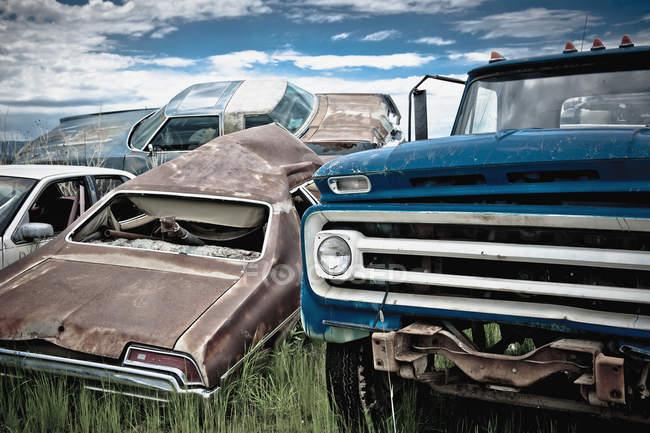 Брошенные машины на свалке, Биллингс, Монтана, США — стоковое фото